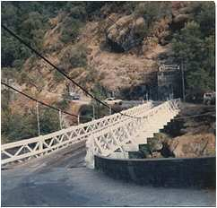 Swinging bridge on Mosquito Road near Placerville, CA